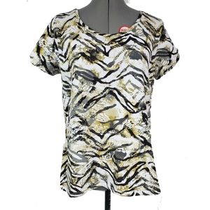 Caribbean Joe cold shoulder twist sleeve t-shirt